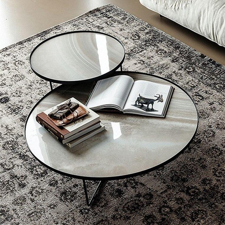 Mesa de centro redonda de mármore sala de estar mesa de centro designer de aço inoxidável metal lado personalizado