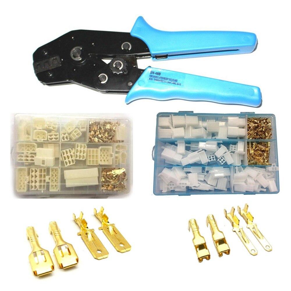 Herramienta de engaste alicate AWG26-16 con 6,3mm 2,8mm lengüetas receptáculos terminales Pin conectores de coche Kit surtido