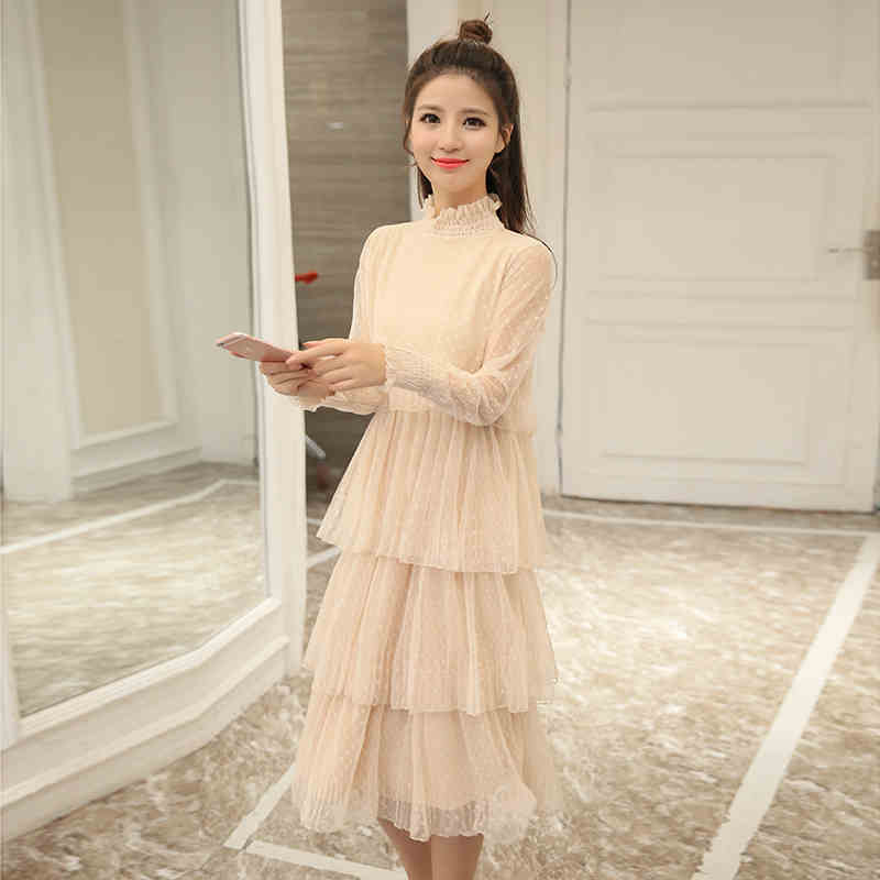 2017 autumn long sleeve long dress black gray beige teenage 14 16 15 years old Korean fashion lace vintage