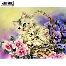Diy diamante dibujo bordado decoración pintura gato diamante Cruz puntada cristal diamante juegos inacabado pintura decorativa ZS