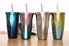 Tasse à café en acier inoxydable   Tasse de café avec couvercle en paille de 500ml dégradé de diamant, gobelet à Double paroi, tasse de paille de 10 pièces