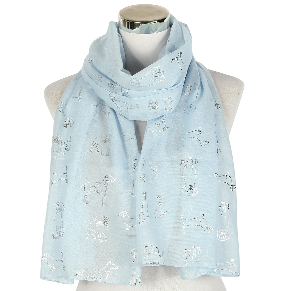 New Fashion Blue Dog Pattern Foil Silver Women's Shawl Pashmina Stole Scarf Elegant Ladies Large Long Snood Scarve