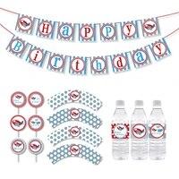 airplane party cupcake toopper boy birthday party decorations kids airplane banner party decorations supplies water bottle label