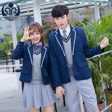 Новейшая школьная форма для студентов; Темно-синяя Матросская Одежда для мальчиков и девочек; Японский свитер; Куртка; Студенческая одежда в британском стиле; D-0546