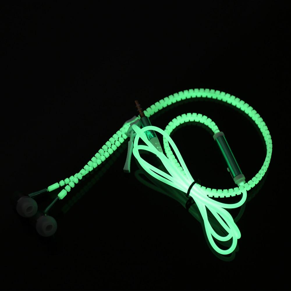 Newest Glow Earphone Luminous Light Metal Zipper Headphone Glow In The Dark For MP3 Iphone Samsung  With Mic