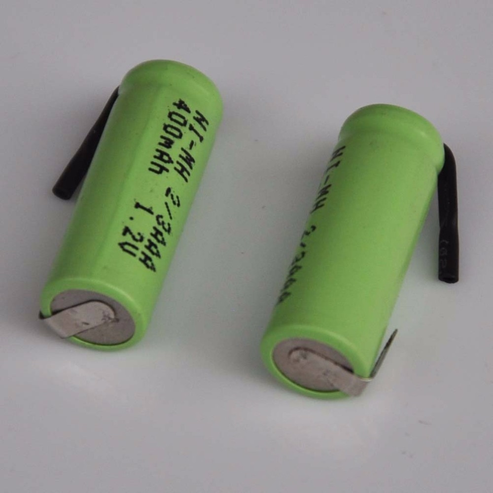 10 шт. 1,2 в ni-mh 2/3AAA аккумуляторная батарея 400 мАч 2/3 AAA nimh ячейка с пайки вкладки булавки для DIY LED Солнечный Свет