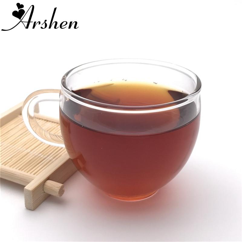 Arshen tazas de té de café transparentes resistentes al calor clásicas duraderas de 80ml con asa cristalería Vaso de Leche cerveza vino para fiesta familiar