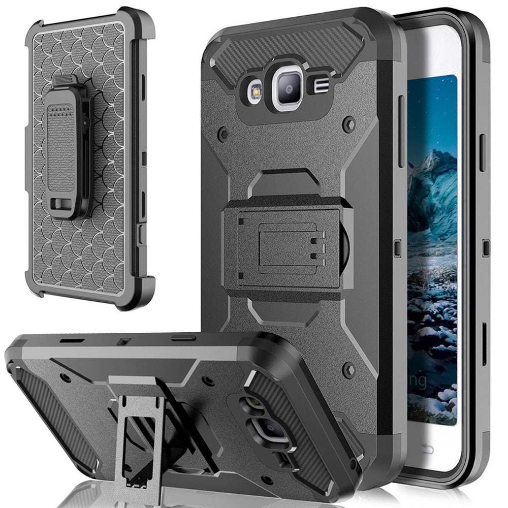 Funda protectora con soporte y Clip para cinturón, funda para Samsung Galaxy J1, J3, J5, J7 2016, 2017, S7 Edge, S8 Plus Active, Note 8, XCover 4, On5