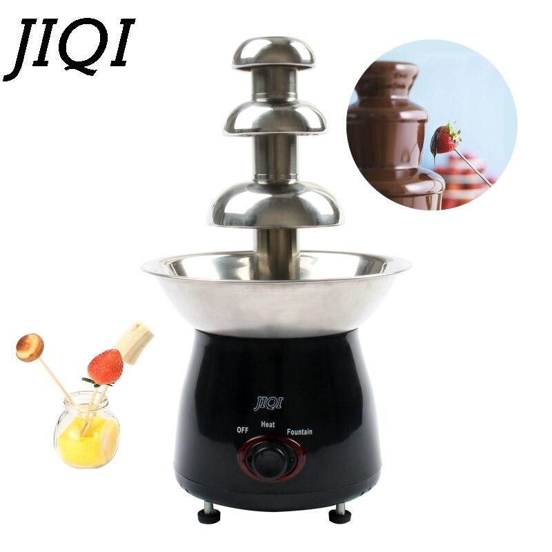 JIQI Mini Triple fuente de Chocolate Fondue evento boda niños cumpleaños casa Navidad cascada máquina