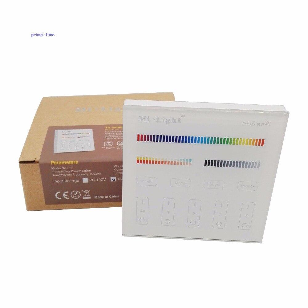 Mi, luz T4 4-zona RGB + AAC Smart Touch Panel Controlador remoto de montaje en pared AC110V o AC220V entrada 2,4G inalámbrico como FUT092