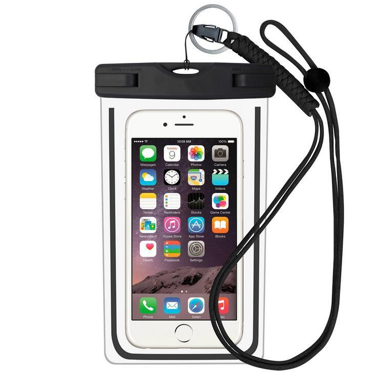 ¡Novedad de 2018! Bolsa del teléfono móvil de 5,5 pulgadas, bolsa resistente al agua bajo agua, funda seca para canoa, Kayak, Rafting, Campamento, natación y deriva