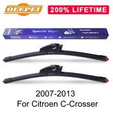 QEEPEI reemplazar limpiaparabrisas para Citroen C-Crosser 2007, 2008, 2009, 2010, 2011, 2012, 2013 parabrisas de caucho Natural de limpiaparabrisas