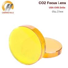 США CVD ZnSe Лазерная линза CO2 фокусная линза диаметр 25 мм FL 38,1 50,8 63,5 100 127