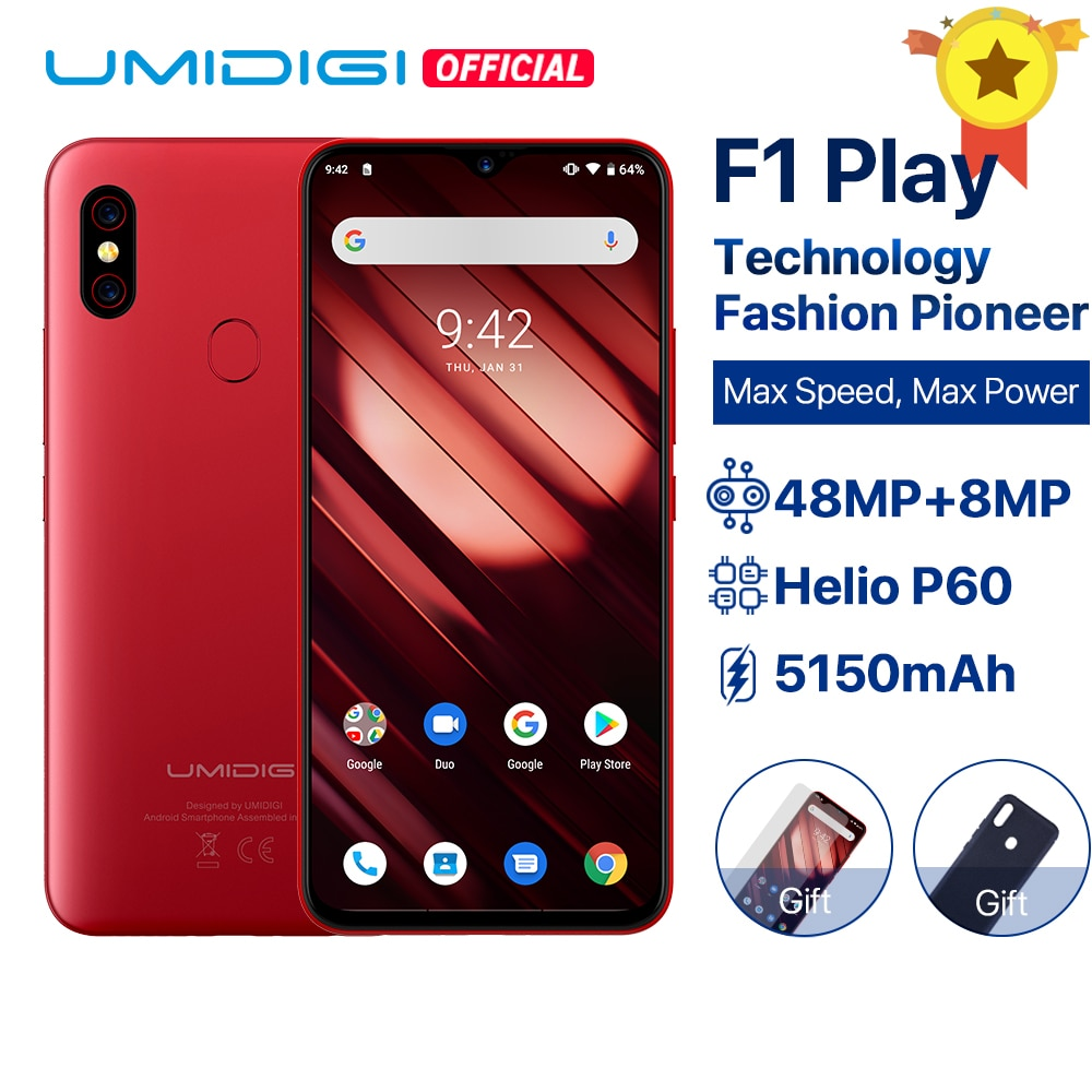 "UMIDIGI F1 jugar Android 9,0 6GB RAM 64GB ROM 48MP + 8MP + 16MP cámaras 5150mAh 6,3 ""FHD + Helio P60 versión Global Smartphone Dual 4G"