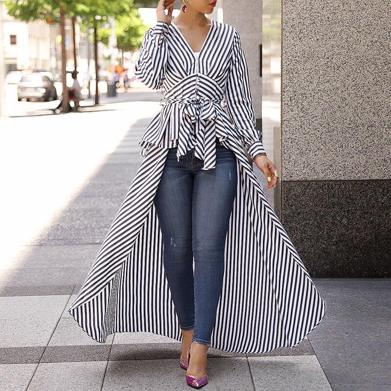 Camisa larga informal ropa de trabajo de oficina Formal con cuello en V Top a rayas de la cintura Dip Hem Irregular blusa mujer primavera moda