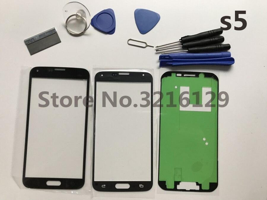 Сменный Внешний стеклянный объектив A +, для Samsung Galaxy S5 i9600 G900F G900H G900A G900, сенсорный ЖК-экран + клей + инструменты