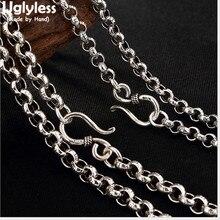 Uglyless réel 925 Bijoux en argent Sterling Fine unisexe chaînes 5MM épais hip-hop colliers sans pendentifs Bijoux 8 tailles Collier