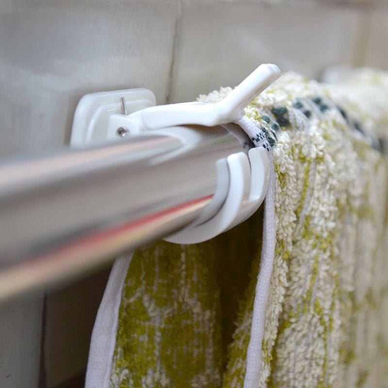 1 conjunto prático forte urtain hastes vara gancho de parede auto-adesivo tipo suporte para barra transversal trilhos de armazenamento rack organizador