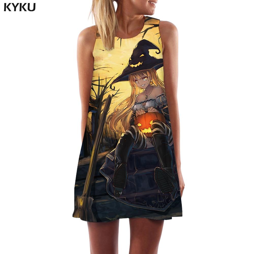 Marca KYKU, vestido de Halloween para mujer, Vestido corto estilo coreano de calabaza bohemio con dibujos animados, ropa de fiesta para mujer, nueva moda informal