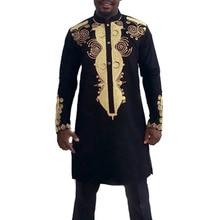 Mens Autumn Winter Luxury African Print Long Sleeve Dashiki Shirt Suit Mens Clothes Sets Camisa De Manga Larga Para Hombre C