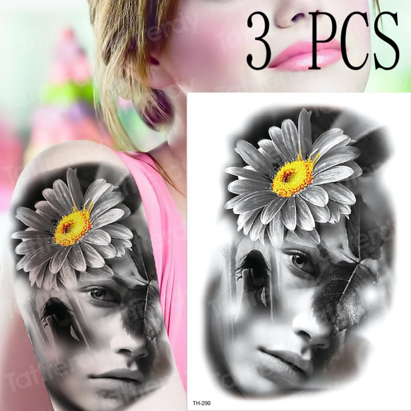 3 pçs/lote nova tatuagem temporária adesivo halloween meninas henna máscara laço relógio espada tatoo à prova dwaterproof água braço flores tatu rosto tatuagem