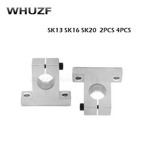 2 個/4 ピース/ロット SK13 SK16 SK20 13 ミリメートル 16 ミリメートル 20 ミリメートルリニアベアリングレールシャフト支持台 CNC ルータ SH8A 3D プリンタ部