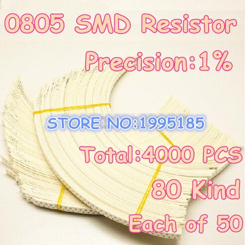 4000 pçs/lote SMD (10R-910K) 0805 pacote kit 1% de precisão, pacote de componente eletrônico 80Kind * 50 pcs = 4000 pcs