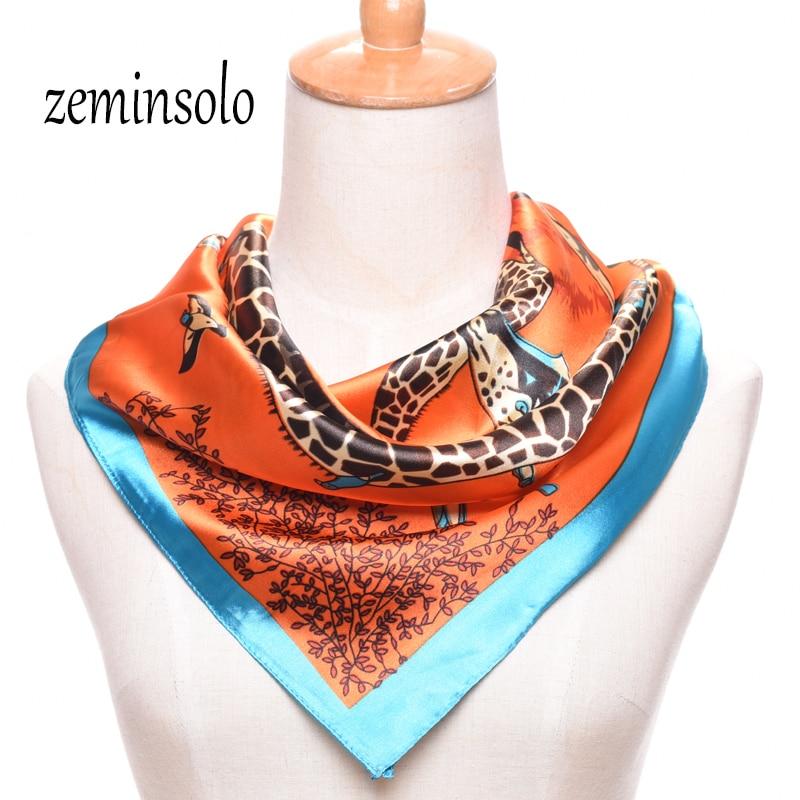 Hot Sale Satin Square Silk Scarf For Women Printed Ladies Scarves For Women Bandana Plaid Brand Scarves 60*60cm Shawl Hijab