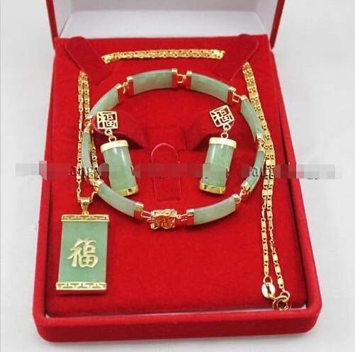 O envio gratuito de New estilo Natural nobre jóias >>>> Verde pedra Inlay Pulseira Link brincos Colar Pingente Set