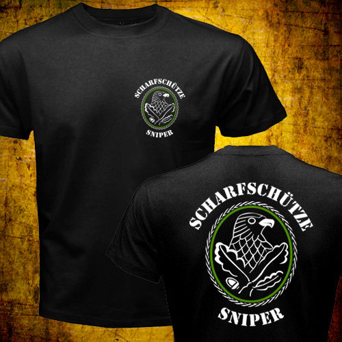 Camisetas de poliéster del ejército alemán Waffen militar SniperS Badge scharfschutzenabeichen Tops 2019 Hip Hop Stranger Things