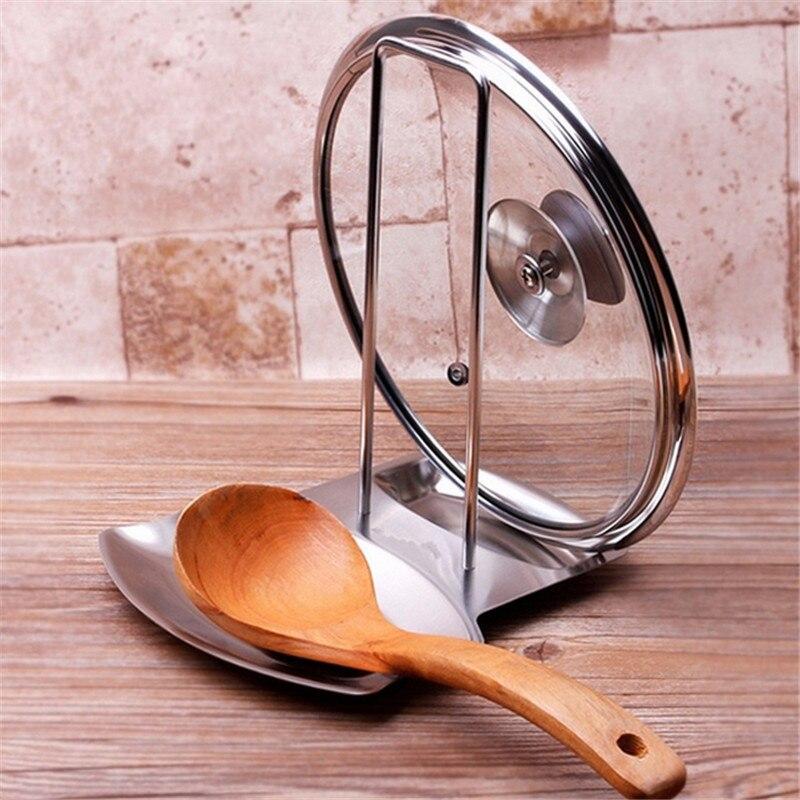 Tapa de olla de acero inoxidable soporte para cuchara accesorios de cocina organizador de cocina almacenamiento restos de cuchara de sopa