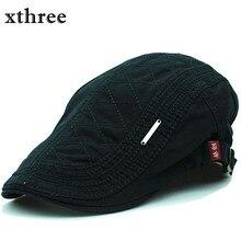 Xthree Fashion Beret Cap Cotton Hats for Men and Women Visors Sunhat Gorras Planas Flat Caps Adjustable Berets