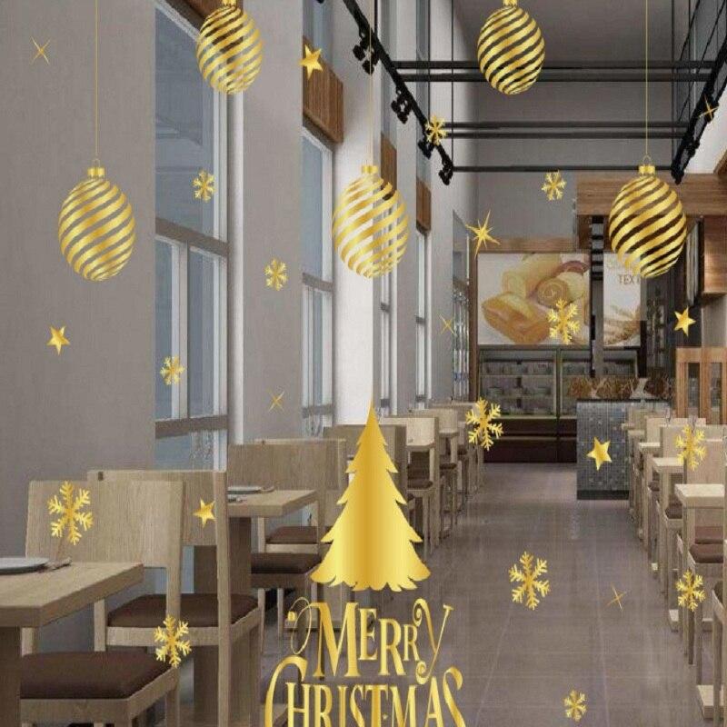 ملصقات الكريسماس ، بدون غراء ، ثابتة ، بدون علامات ، نوافذ المتجر ، النوافذ الزجاجية ، زينة الكريسماس الذهبية عالية الجودة.