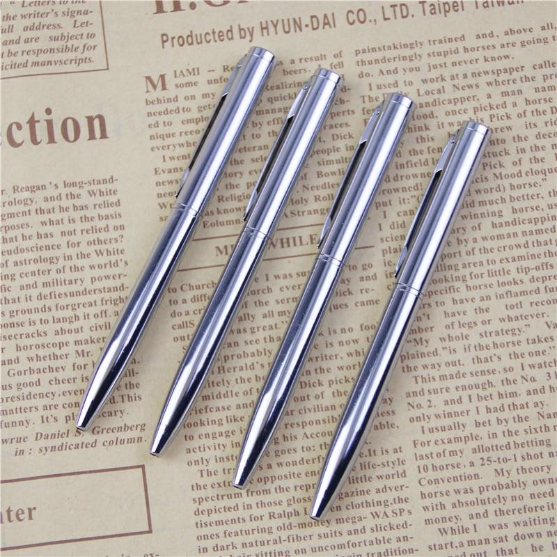 Mini caneta esferográfica de metal durável, caneta esferográfica tamanho de bolso rotativa portátil, caneta pequena com óleo, escrita requintada, 1 peça ferramenta,