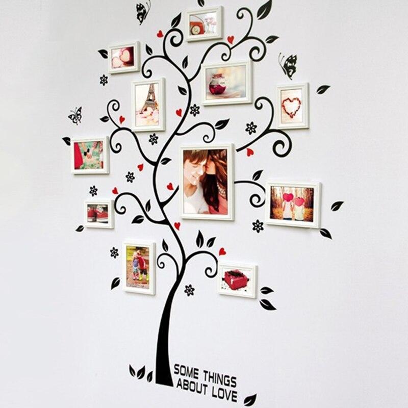Diy photo frame Árvore adesivos de parede borboleta casa decoração do quarto sala de estar sofá cartaz decalques de arte de parede de decoração para casa
