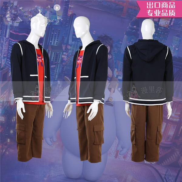 Venta caliente Hiro Hamada Cosplay traje Top + abrigo + Pantalones del Campus de ocio estilo Unisex diario ropa