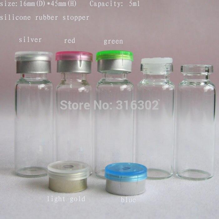 50X5ML bouteille en verre transparent et bouchon rabattable 5cc récipients en verre flacons flacons dinjection cou pour 13mm