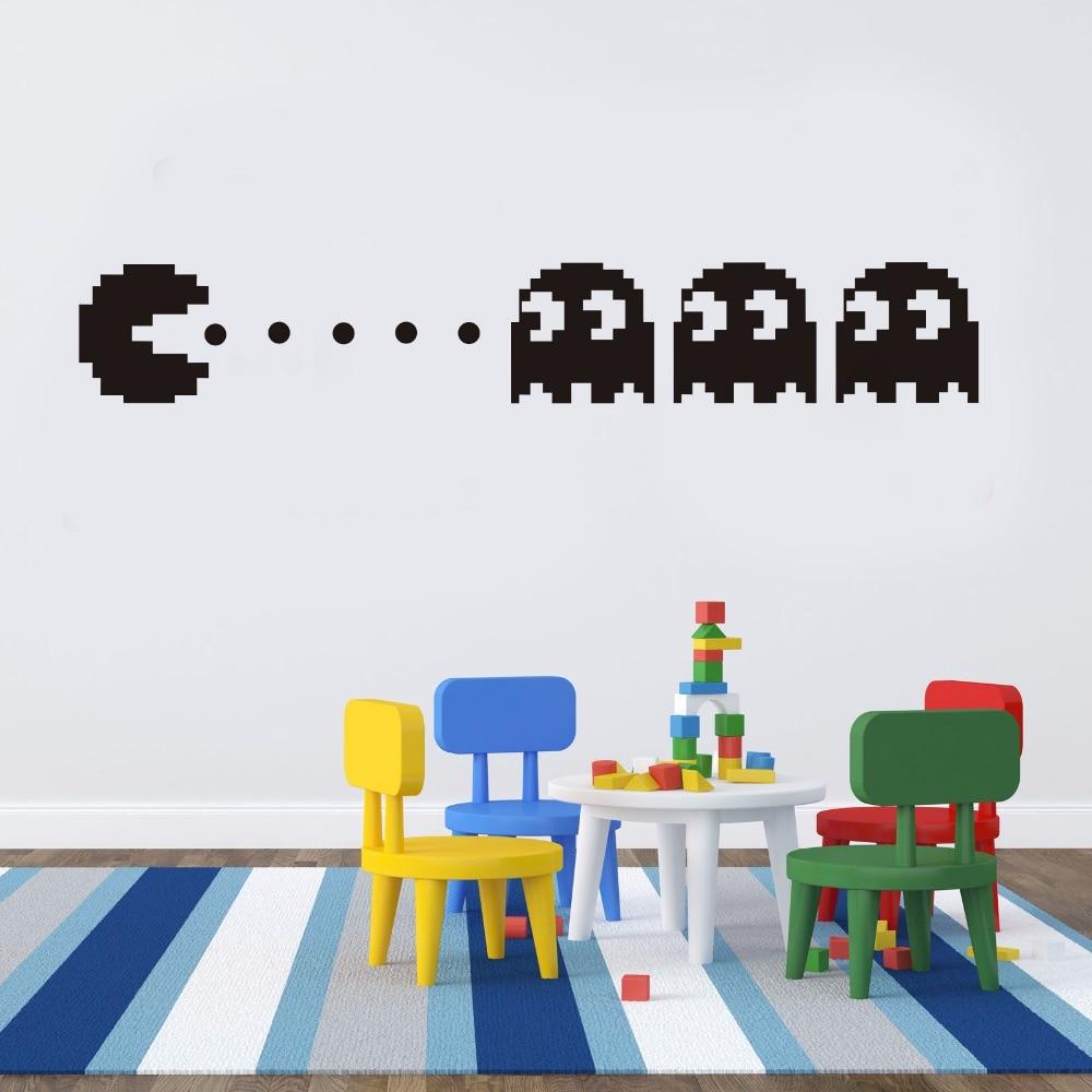 Nuevo Pacman calcomanía de vinilo para pared decoración del hogar niños decoración para dormitorio diy papel tapiz adhesivos removibles para pared