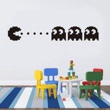 새로운 pacman 비닐 벽 전사 무늬 홈 장식 어린이 방 장식 침실 diy 벽지 이동식 벽 스티커