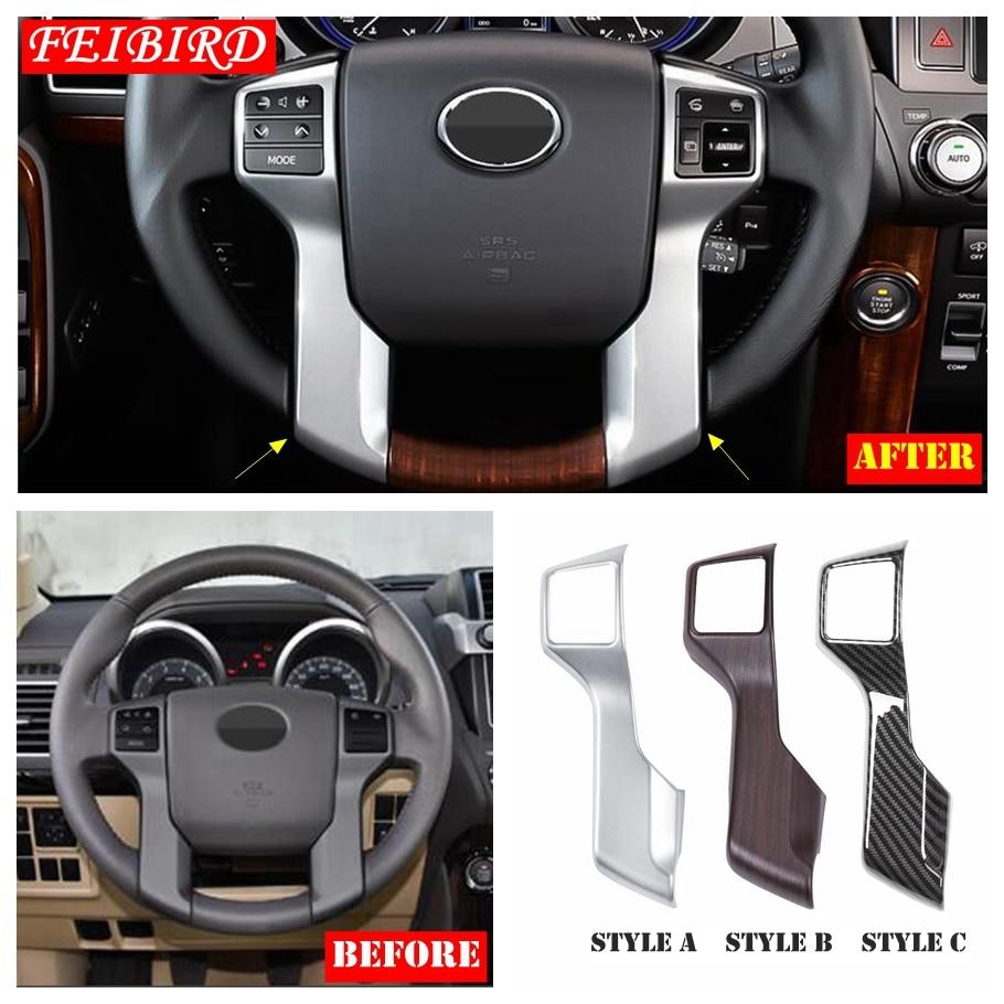 Para Toyota Land Cruiser Prado FJ150 2014, 2015, 2016, 2017, 2018 ABS frente cubierta del Panel del volante Ajuste de plata mate de fibra de carbono