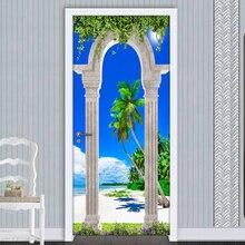 2 pçs/lote Porta PVC Auto-adesivo Adesivos de Parede Mural Coluna Romana Arcos Praia Seascape 3D Foto Papel De Parede Para Sala de estar quarto Quarto