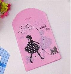 50 шт., розовая пластиковая сумка с принтом для девочек, 13x21 см, маленькая Ювелирная Подарочная упаковка для конфет, милые пластиковые подароч...