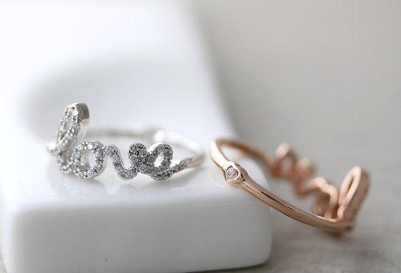 Venta al por mayor anillo carta de amor parte trasera diminuto corazón infinito anillo de amor mejor anillo de amigos joyería oro plata regalo Idea-12 unids/lote