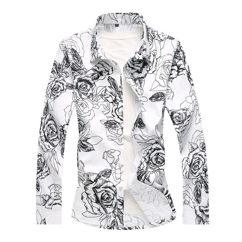 Маленькие Стрейчевые мужские рубашки с длинным рукавом и цветочным принтом, черные, белые модные повседневные мужские платья, рубашки, боль...