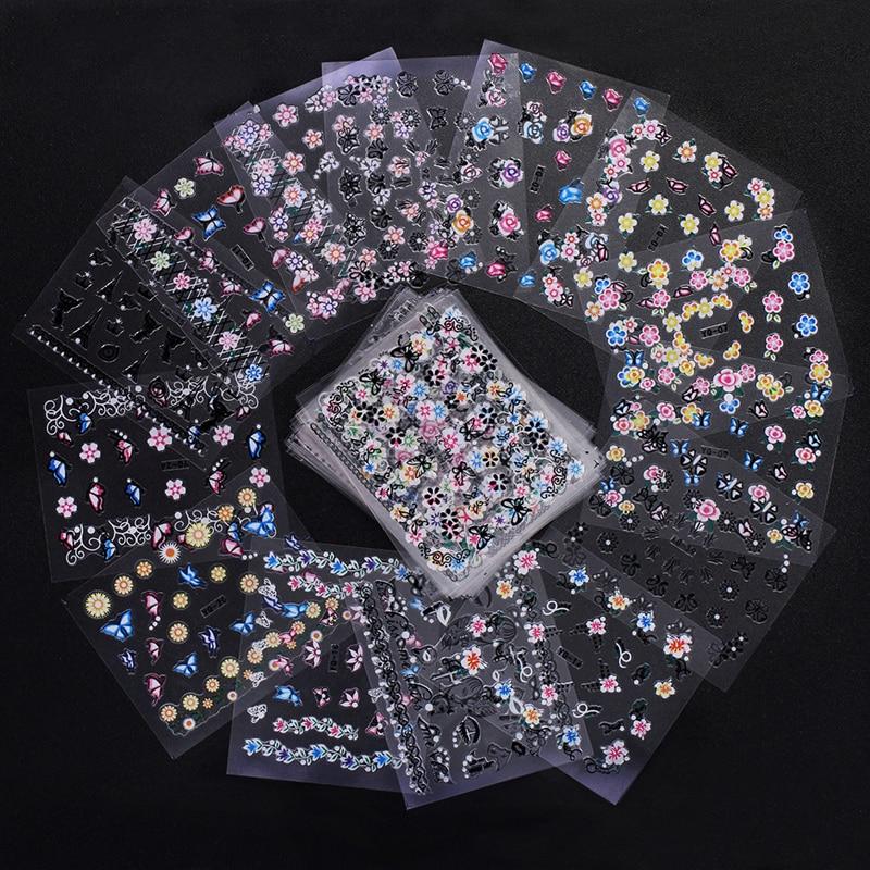 50 hojas/juego de colores mixtos diferentes modelos de pegatinas de uñas 3D transferencia de agua flor pegatinas de Arte de uñas pegatinas Decoración