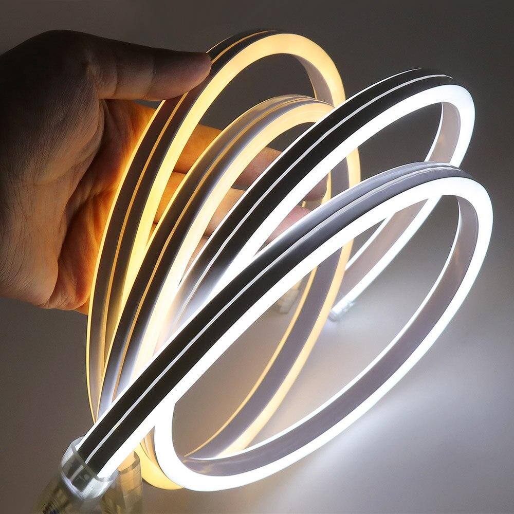 Tira de luces Led XUNATA, luz de neón 220V SMD2835 120Leds/M, iluminación de hadas Flexible a prueba de agua, tipo de doble cara con enchufe de alimentación