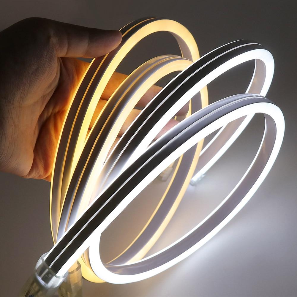 Светодиодная лента XUNATA, неоновый свет 220 В SMD2835 120 светодиодов/м, водонепроницаемая гибкая гирлянда, двусторонний тип освещения с вилкой пита...