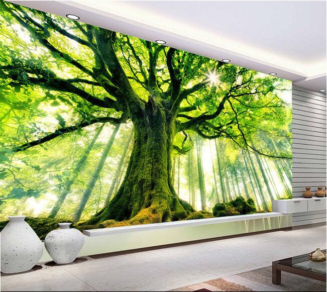 3d tapete nach foto mural grünen baum wald hintergrund wand wohnzimmer wohnkultur 3d wandbild tapete für wände 3 d