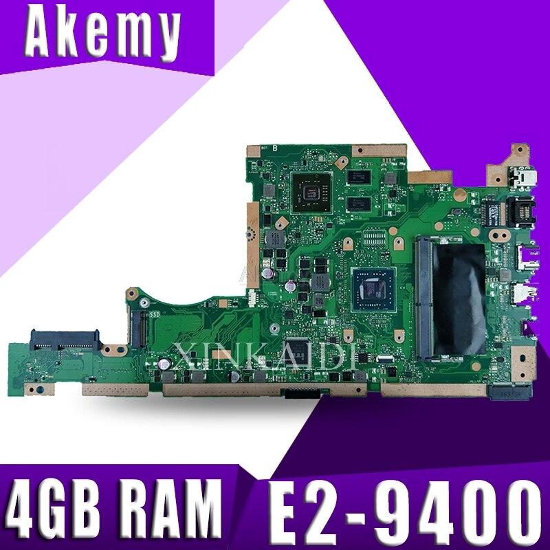 Placa base de ordenador portátil X505BP para ASUS X505B X505BP placa base de prueba de 100% 4GB RAM E2-9400 CPU