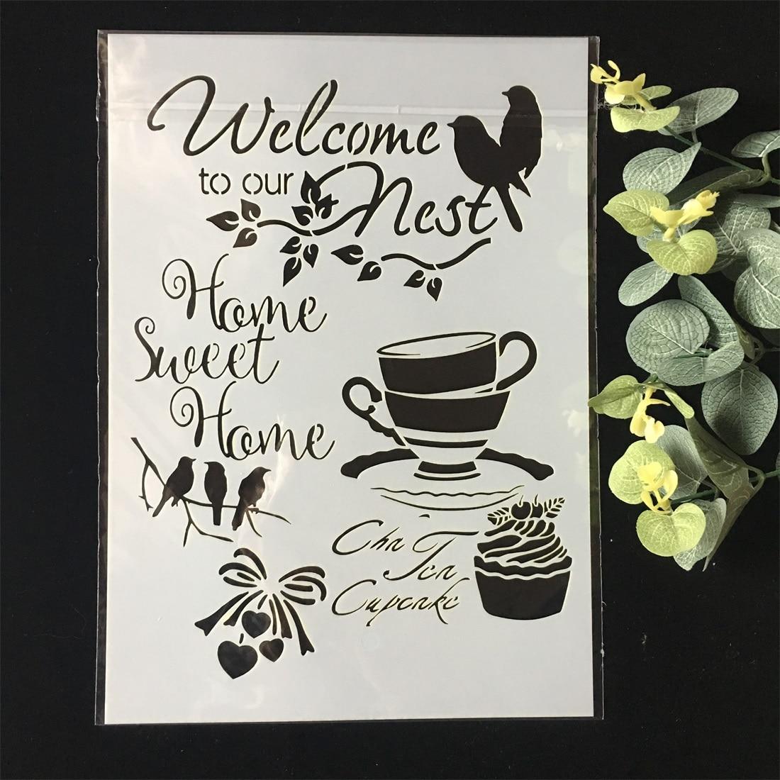Nuevo A4 Bienvenido a nuestro nido DIY plantillas de capas, pintura de pared, libro de recortes colorear, grabación en relieve, álbum decorativo, plantilla de tarjeta de papel